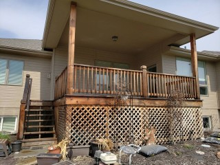Deck Staining Before w/ Lattice